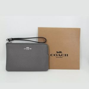 COACH Corner Zip Wristlet Crossgrain Leather, Heat